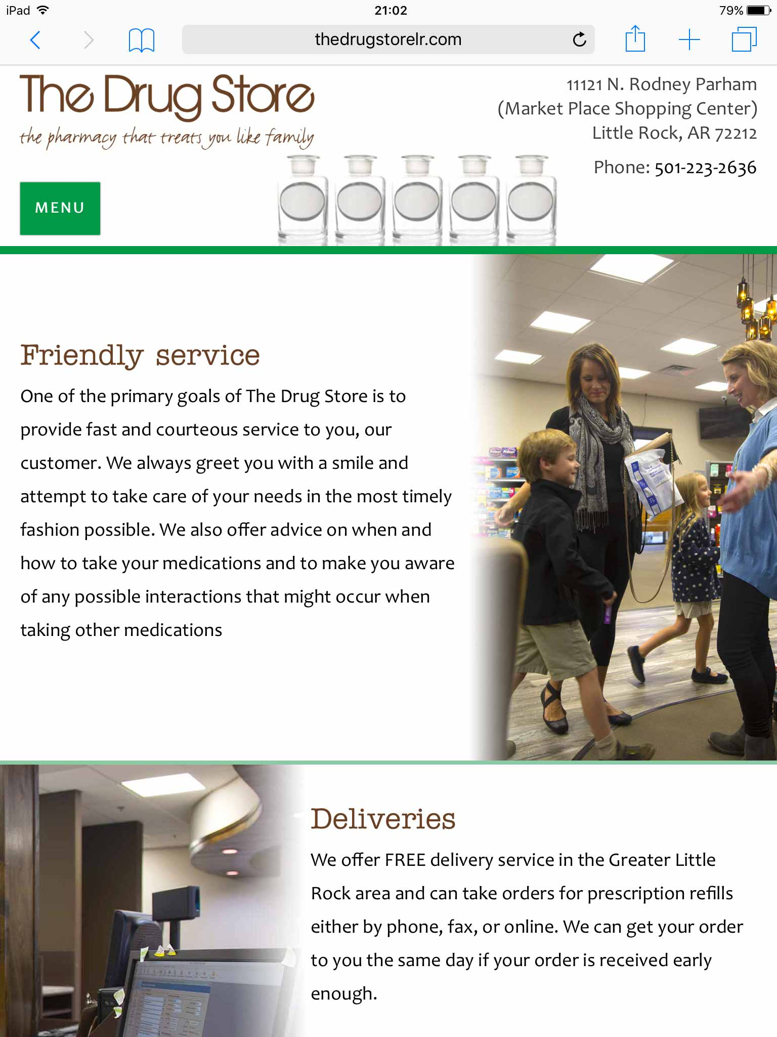 The Drug Store services page on tablet