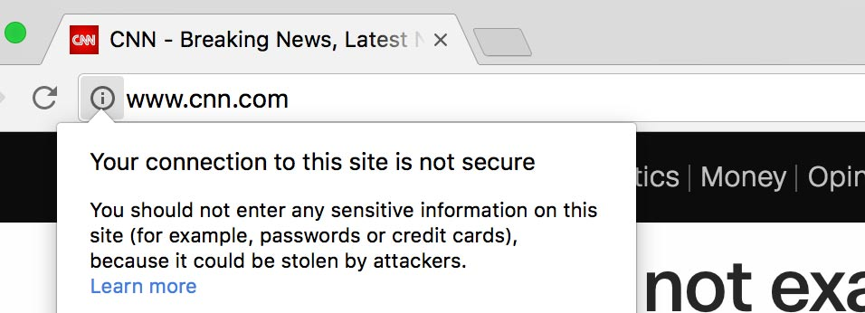 "Chrome web browser displaying ""not secure"" warning"