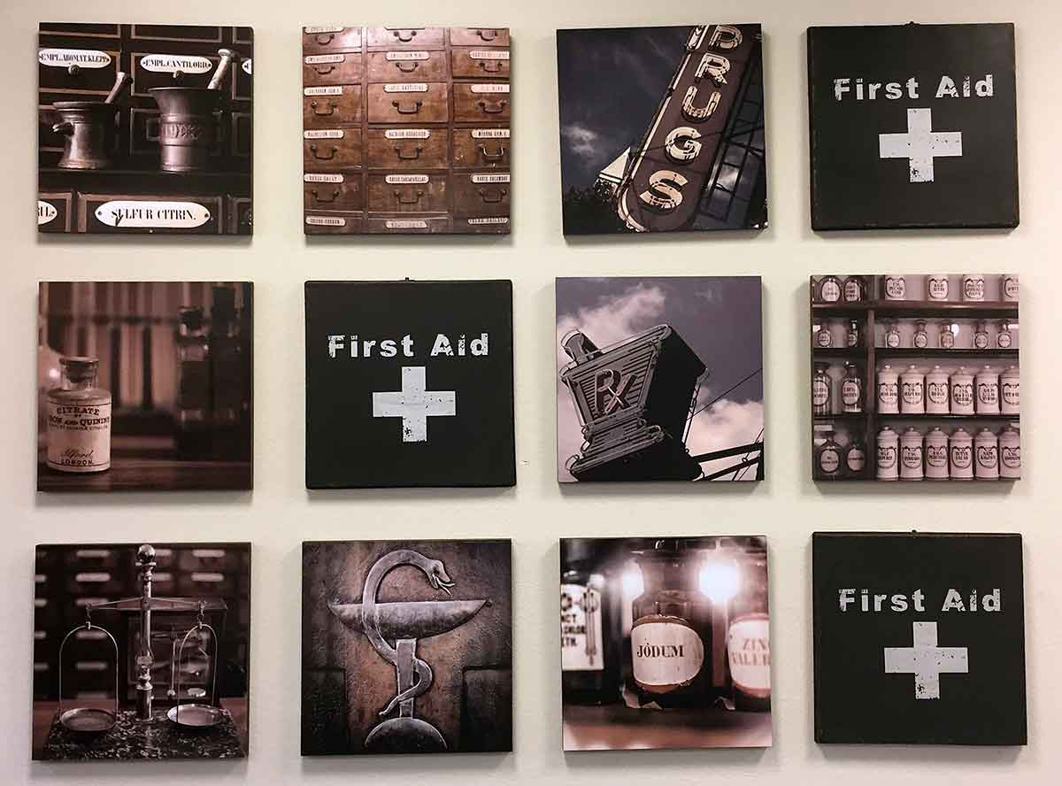 The Drug Store, wall picture arrangement on smaller wall space
