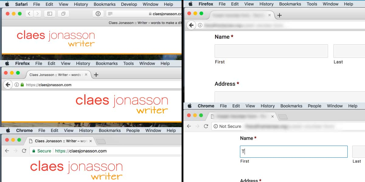 "HTTPS secure website displayed in Safari, Firefox and Chrome on the left. HTTP website displayed in  Firefox and Chrome (with ""Not Secure"" warning"" on right."