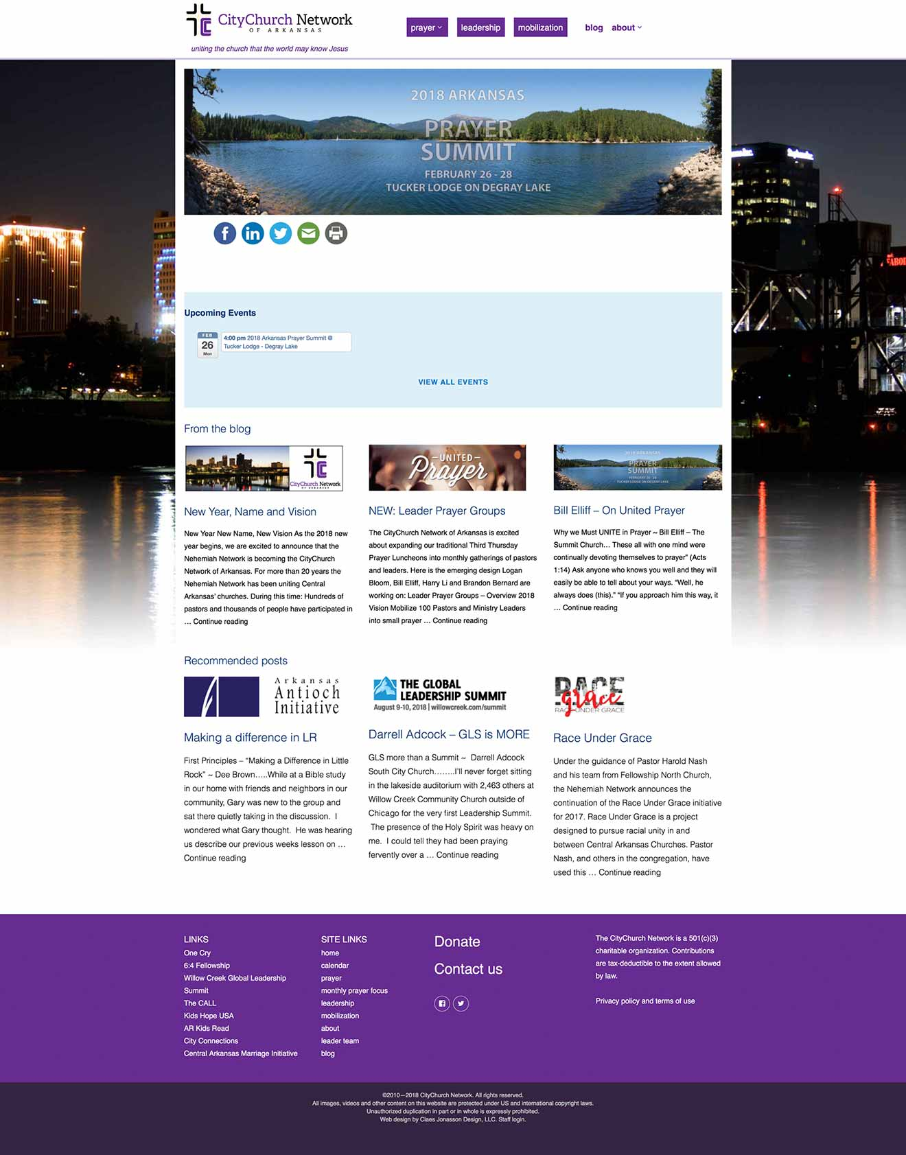 CityChurch Network home page for computer screen