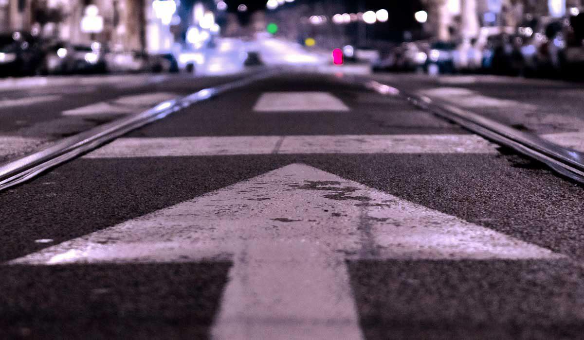 Street with arrow pointing forward