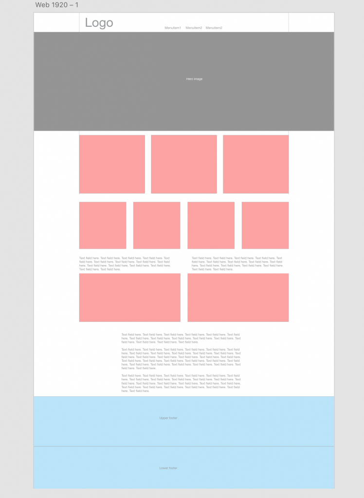 Wireframe web page mockup