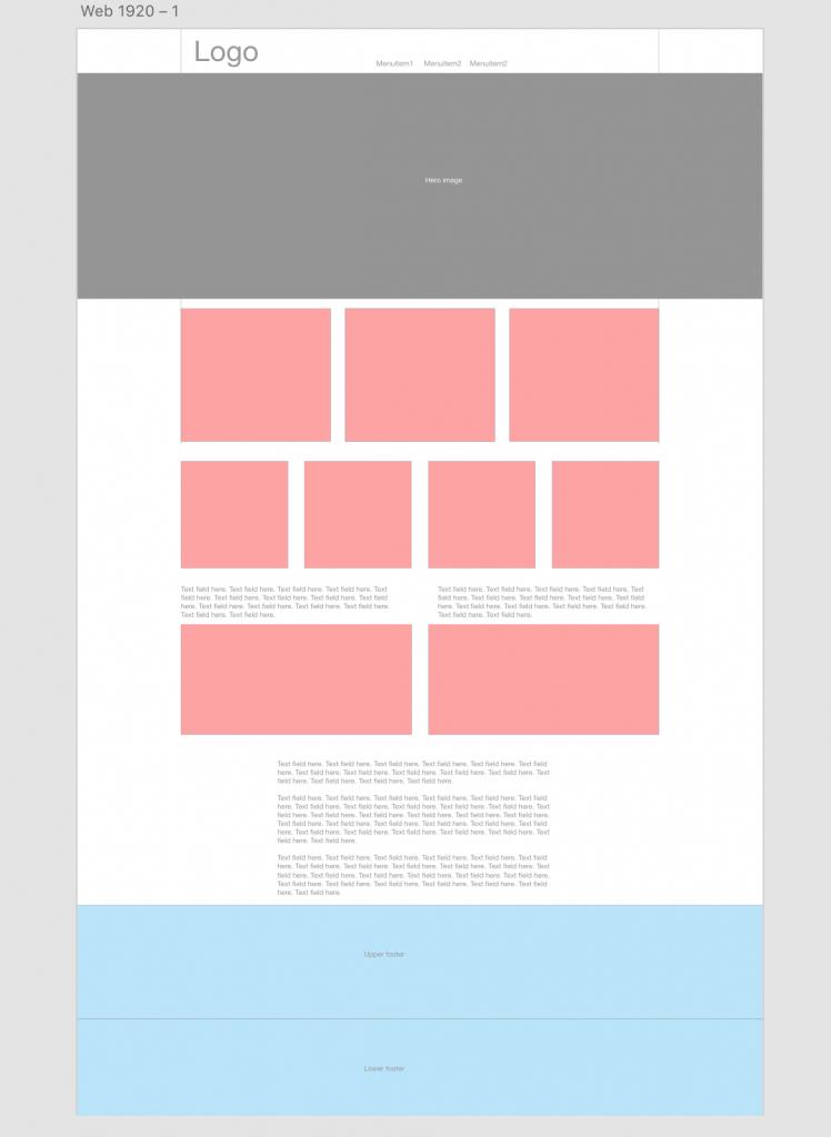 Wireframe web page mockup