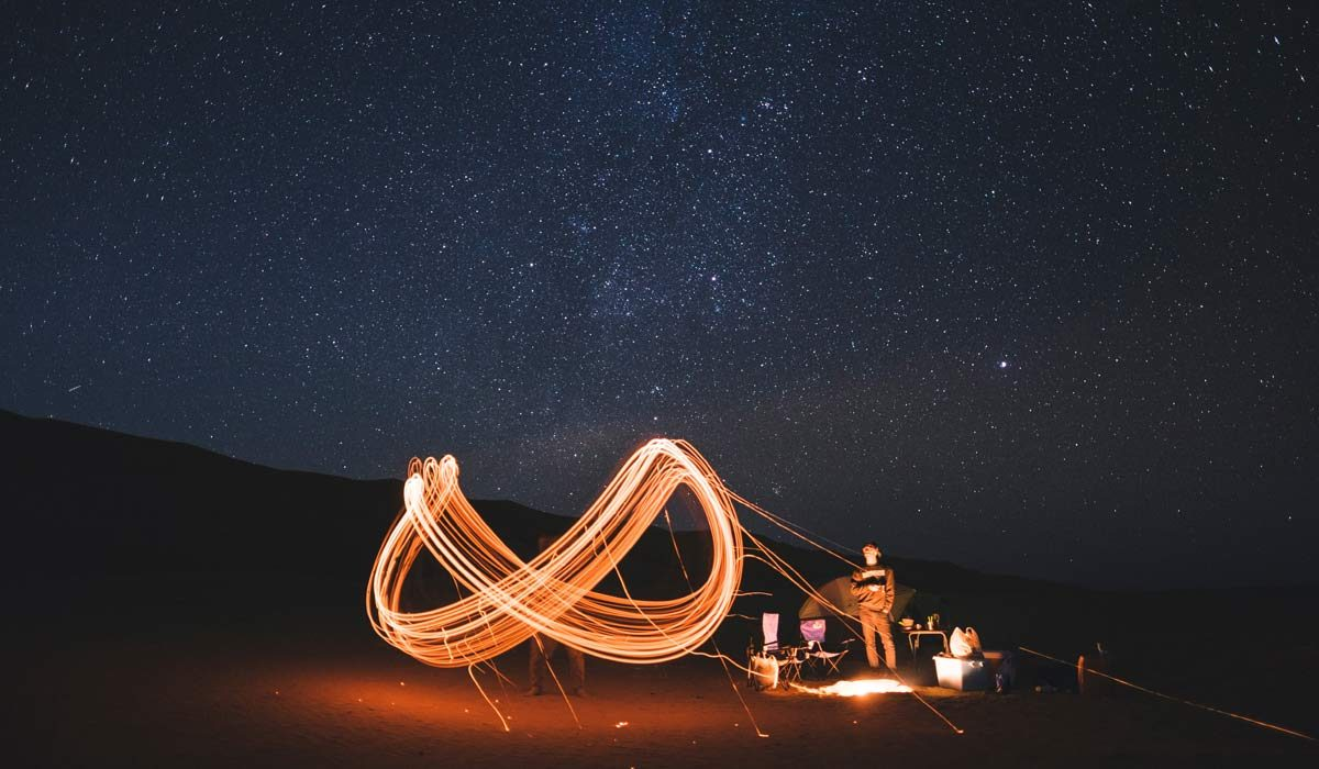 Outside under night sky, campsite, people drawing infinity symbol with lights in time exposure