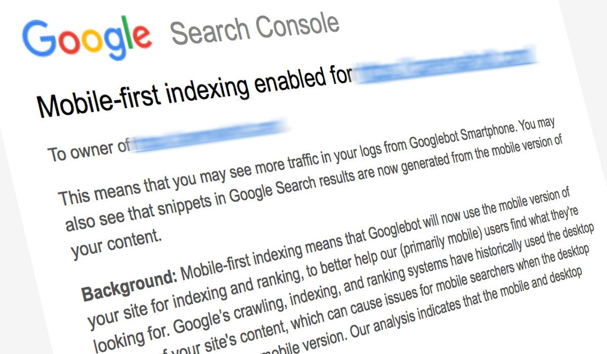 Google email notifying me that one of my website was going to be switched to mobile-first indexing