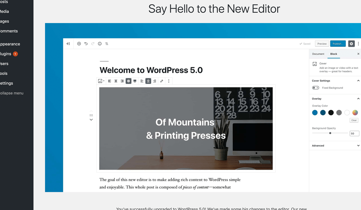 WordPress new editor screen