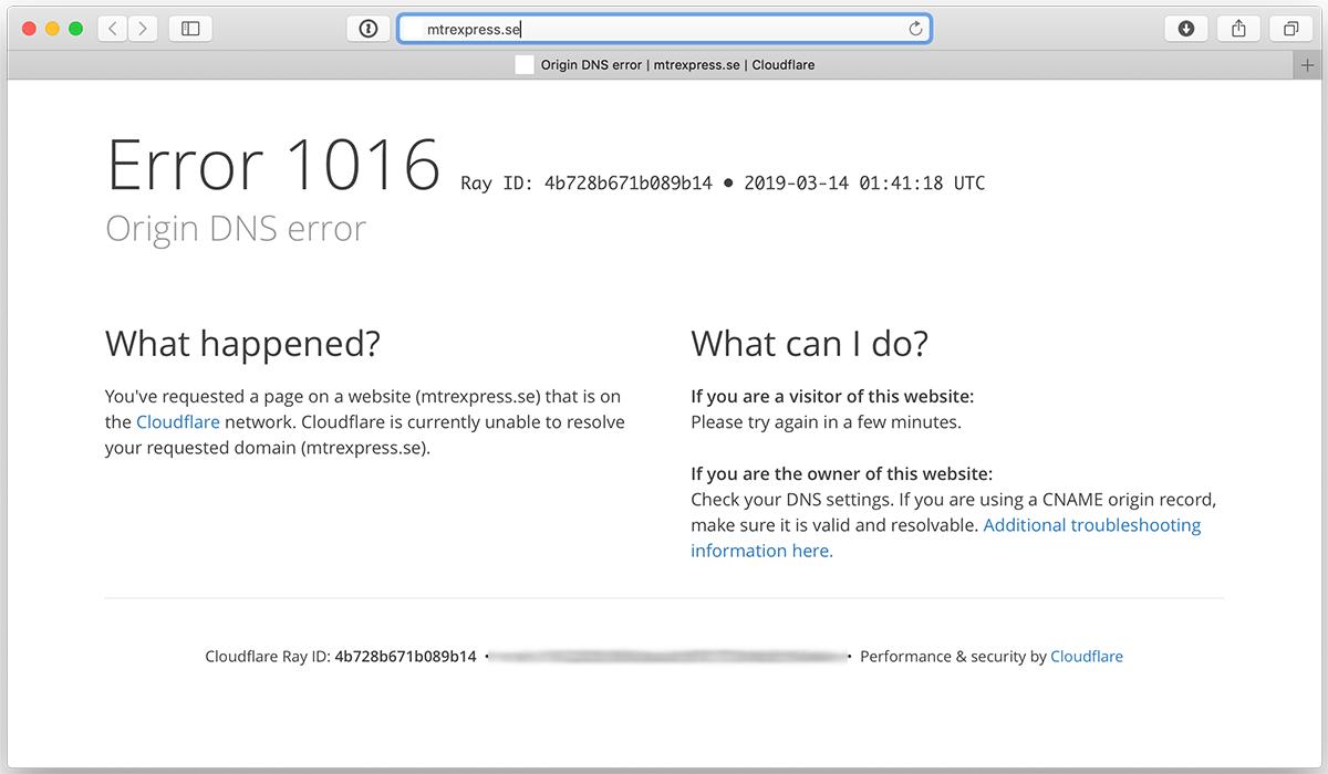 Computer screen showing error message instead of website