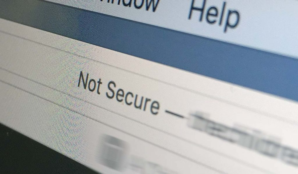 "Closeup of computer screen with text ""Not Secure"" in browser address bar"