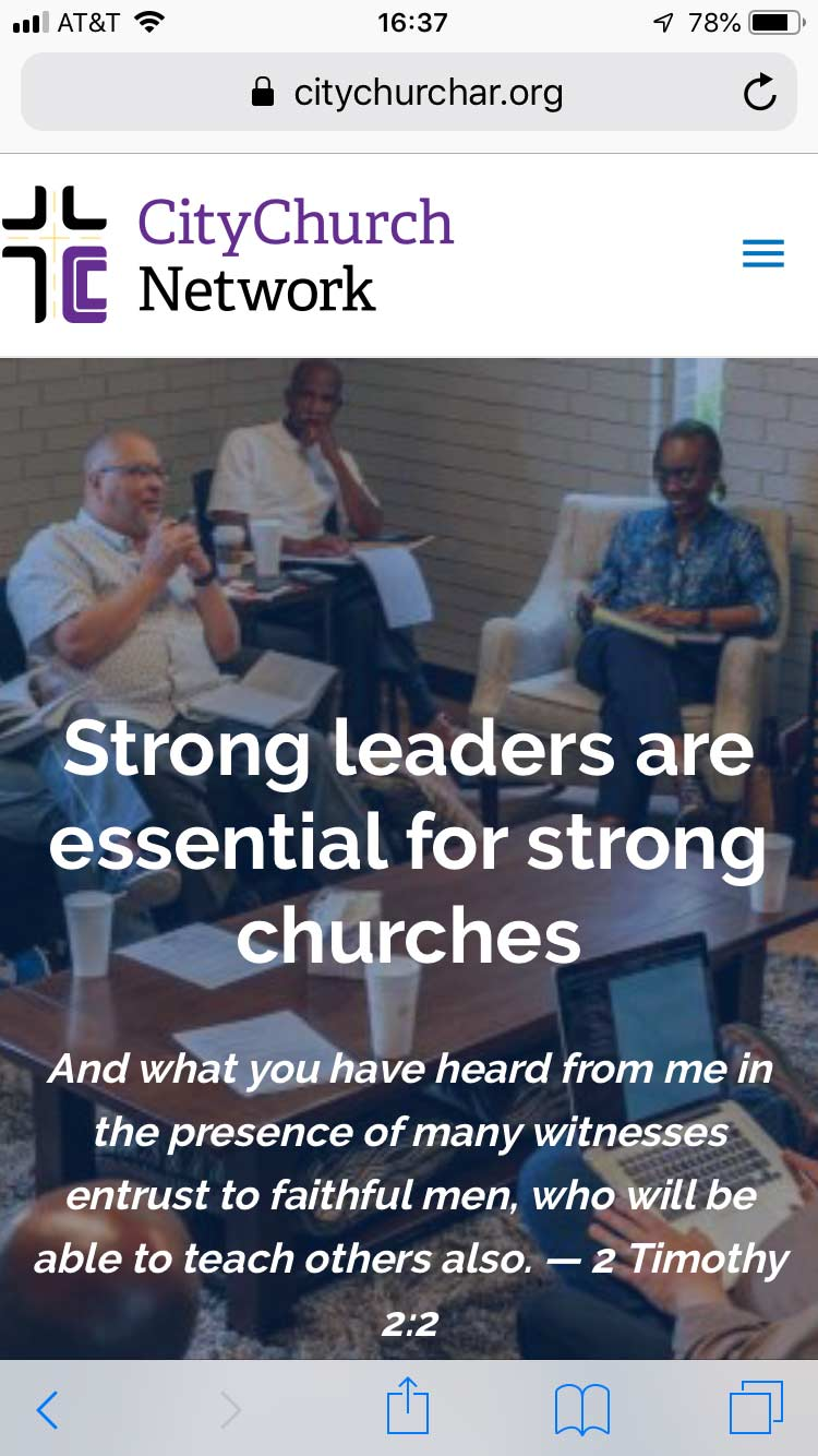 Mobile phone view of the CityChurch Network website