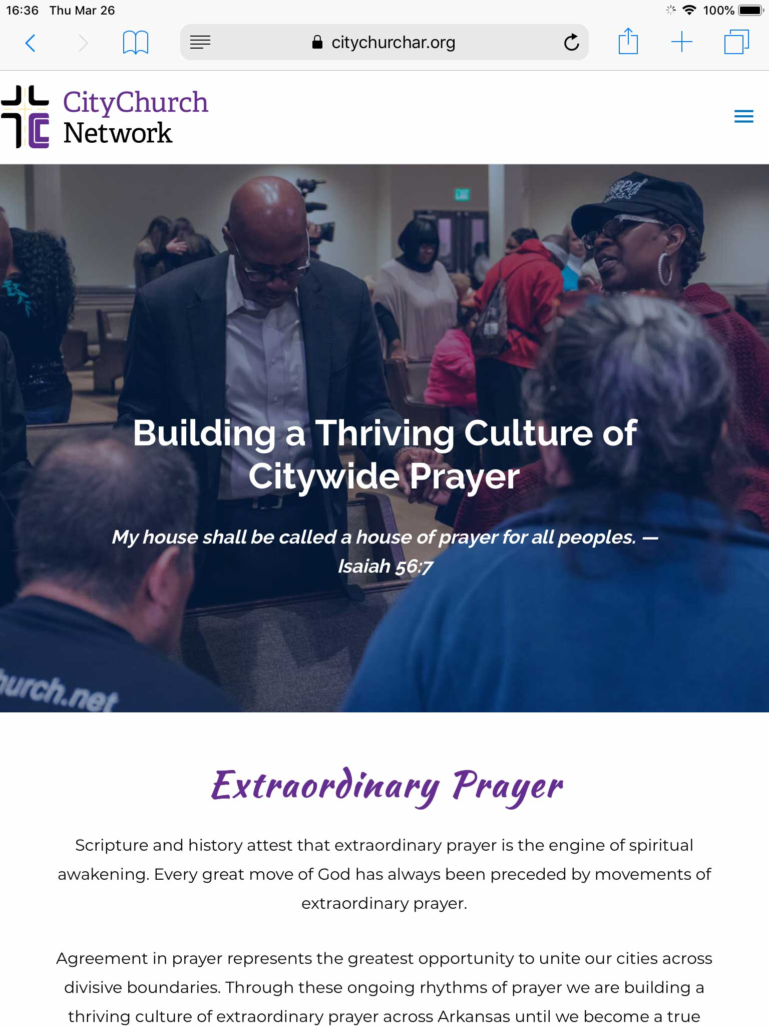 tablet view of CityChurch Network website