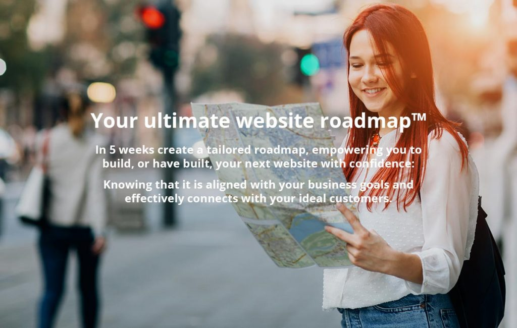 Woman looking at a roadmap, text about course